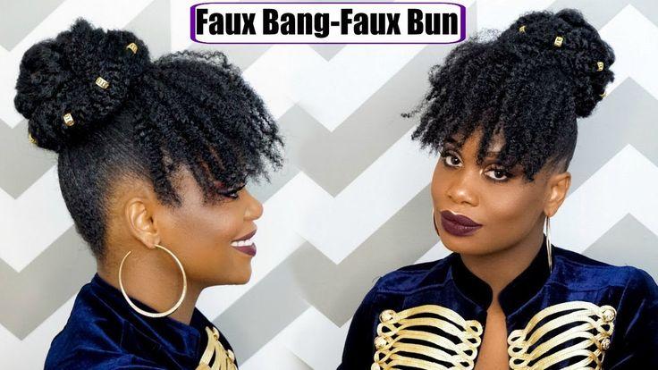 Last Minute New Year Eve Hair/ Faux Bang & Faux Bun [Video] - https://blackhairinformation.com/uncategorized/last-minute-new-year-eve-hair-faux-bang-faux-bun-video/