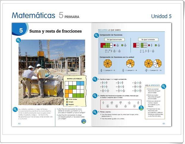 """Unidad 5 de Matemáticas de 5º de Primaria: """"Suma y resta de fracciones"""""""