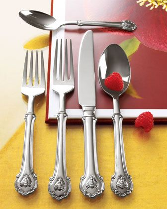 45-Piece+Napoleon+Bee+Flatware+Service+by+Wallace+Silversmiths+at+Horchow.