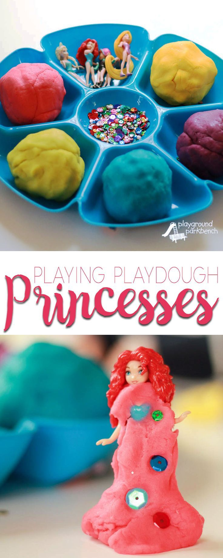 Do your kids love to watch the Disney Collector on YouTube? Tear them away from the screen and let them inspire and imagine Playdough Princesses creations of their very own! It will occupy them for hours, and costs next to nothing using the toys you already have and homemade playdough! | Dramatic Play | Imaginative Play | Sensory Play | Learning through Play | Disney Princess |
