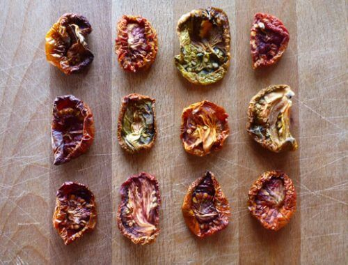 Tangy oven-dried heirloom tomatoes