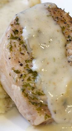 Pressure Cooker Boneless Thick-Cut Pork Chops with Oniony Mashed potatoes and Pork Gravy