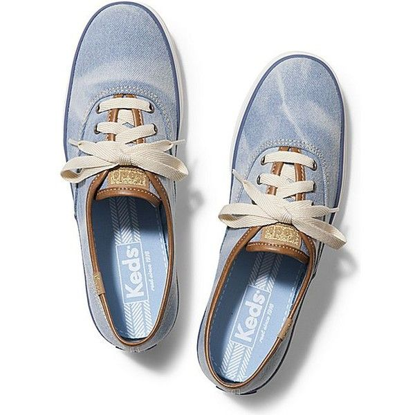 Keds CHAMPION DENIM ($50) ❤ liked on Polyvore featuring shoes, sneakers, light denim, flexible shoes, keds shoes, denim shoes, keds and wide width shoes
