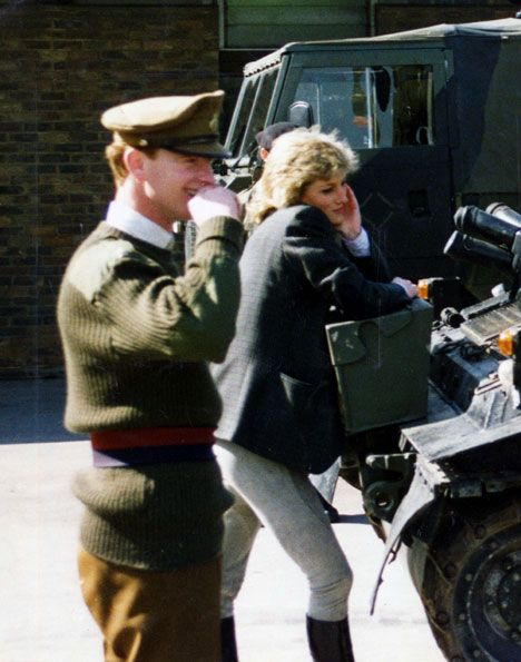 Princess Diana with James Hewitt. There are few pictures of them together. It became known that they had an affair and speculation has been hushed up over the years over the uncanny likeness of Princess Diana's son Prince Harry's resemblance to James Hewitt, his red hair and facial features. Of course this has never been confirmed by Buckingham Palace or the Royal Family. We are left to draw our own conclusions.