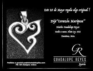 "Joyeria GR- Guadalupe Reyes: Dije""Corazón Mariposa""Diseño: Guadalupe Reyes Hec..."