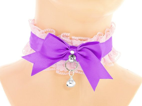 Pink purple satin lace choker collar cosplay by FashionForWomen