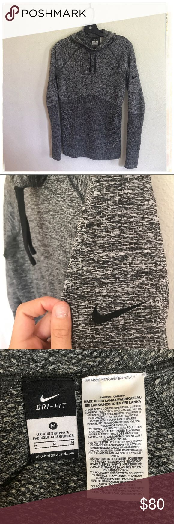 Nike technfit pullover hoodie NIKE pullover hoodie in TECHFIT material. Very flattering. Worn once. Too small for me. NOTE: the dark patches in the armpits are NOT stains, they are patches of darker material, its how Nike makes it more breathable. Nike Jackets & Coats