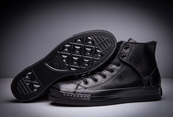 cf7f87d1df65 All Black Converse All Star Leather Side Velcro High Tops  converse  shoes