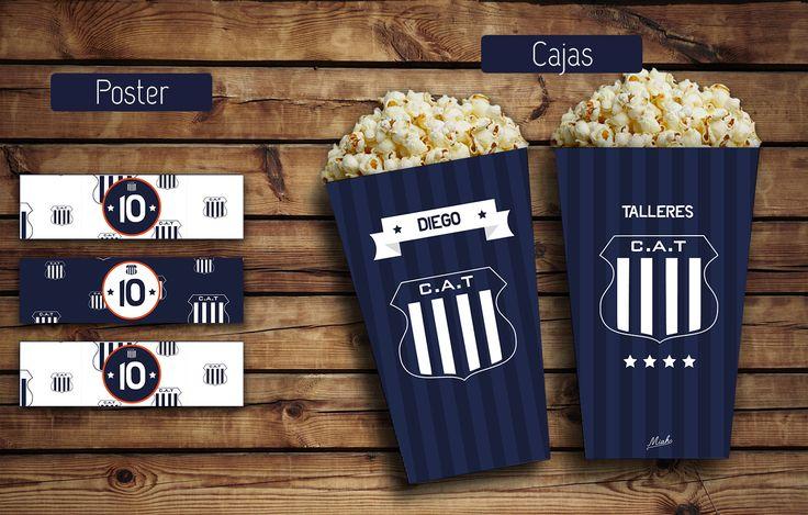 Etiquetas para servilleteros (anillo). Cajas para pochoclos o golosinas #Talleres #KitTalleres #KitCumple #futbol #azul