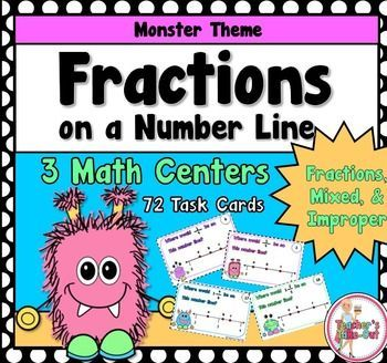 Fractions on a Number Line includes three math centers. This pack includes fractions, mixed fractions, and improper fractions.  $