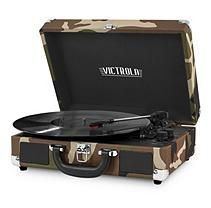 Portable Victrola Suitcase Record Player with Bluetooth and 3 Speed Turntable