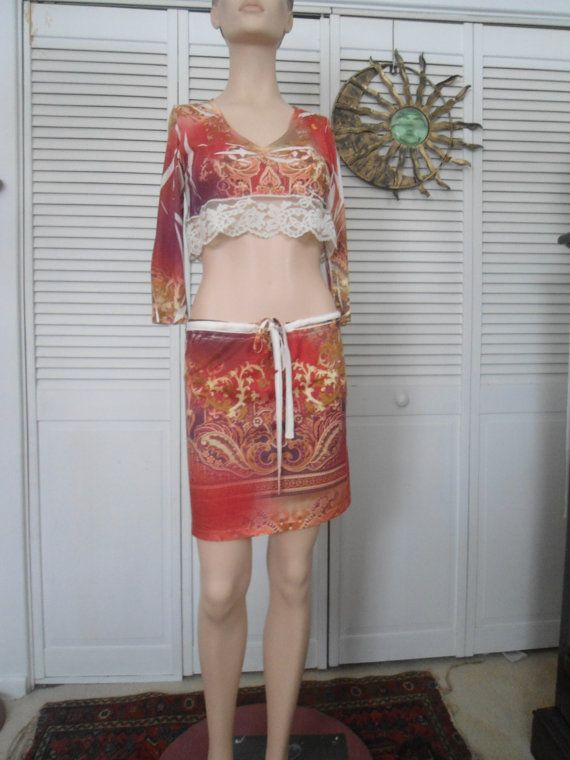 Boho Beach Crop Top Mini Skirt Size Small Womens by LandofBridget