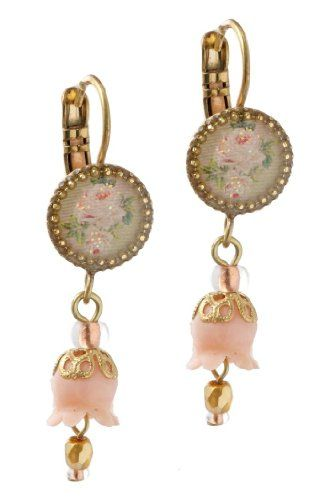 Michal Negrin Earrings with White Rose Print, Pink Dangle Lily and Beads - Hand-made in Israel Michal Negrin http://www.amazon.com/dp/B005CXSQMO/ref=cm_sw_r_pi_dp_cQ.Ktb0WYDYT3AFB
