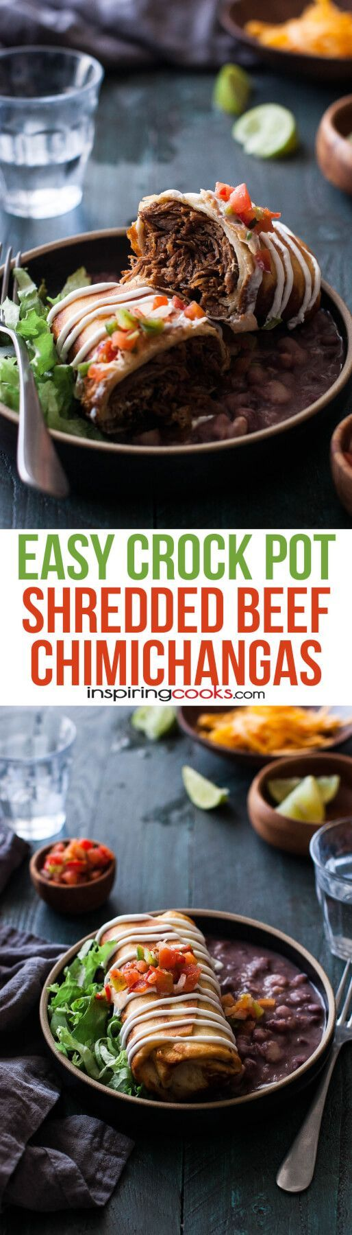 I love how easy these crock pot chimichangas are. Just throw some stew meat in the crock pot, let it cook all day, fry it in some pre-made tortillas and add some toppings. This is my new favorite recipe!