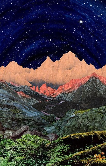collage sky photoshop univers mountain