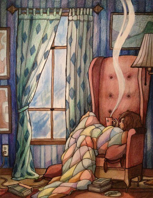 illustration + ilustração + sofa + girl + tea + menina + chá + sofá + procrastination + procrastinação + books + livros + perfect sunday afternoon