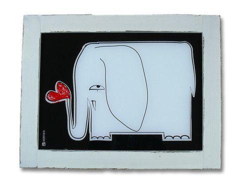 """Lampada con illustrazione """"ELEFANTE"""" — quadro di luce ideato da SKARABOKKIO -  La Casa di Ninni"""
