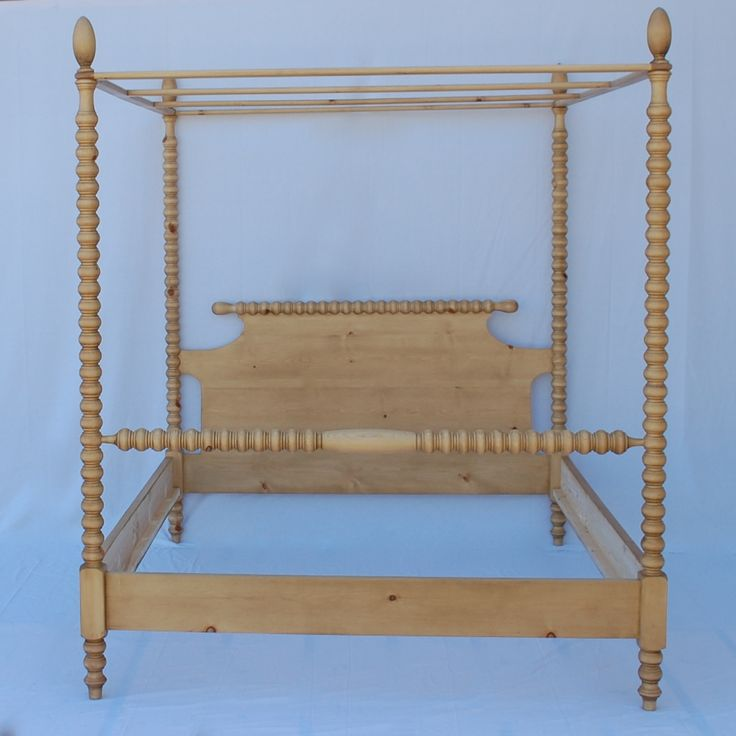 "English Farmhouse Spindle Canopy Bed for Sale, 92"" high - Cottage & Bungalow"