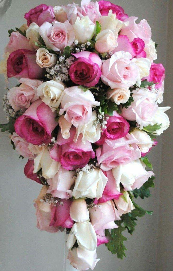 Свадебный букет из розовых роз каскад, минске