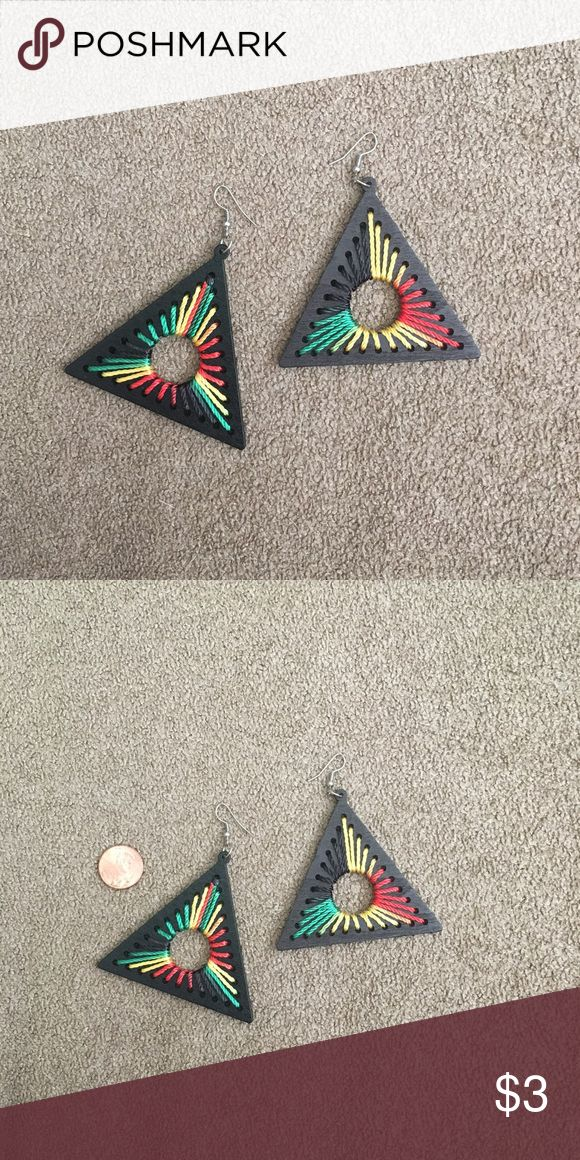 Earrings These are large triangle wood statement earrings that someone from Brazil gave me. They just aren't my style. #triangles #brazil #wood #largeearrings #earrings Jewelry Earrings