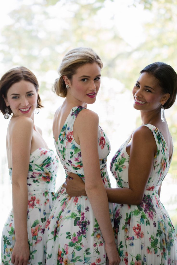 Summer bridesmaid dresses! Printed chiffon from Donna Morgan. Fun idea, very pretty nice for a change instead of solid colors!