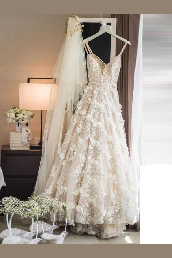 Hot Sale Colorful Ivory Wedding Dress, Lace Wedding Dress, Wedding Dress A-Line, Wedding Dress With Sleeves