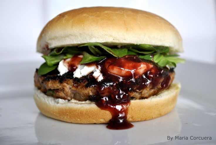Gourmet burger, makes me think of some sort of super savory burger with a berry sauce on it instead of ketchup and some sort of soft cheese.