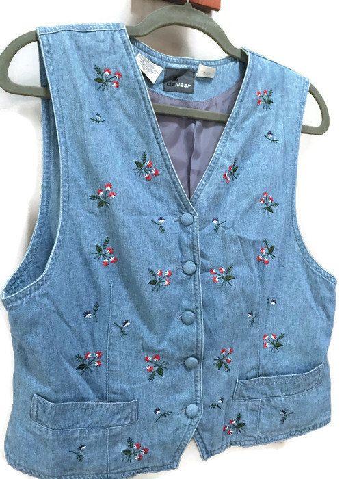 Sleeveless Denim Vest Embroidered Denim Top Blue Jean Vest