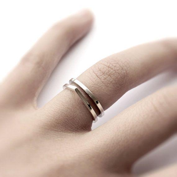 Dubbele ring  minimalistische sterling zilver puntige dubbele