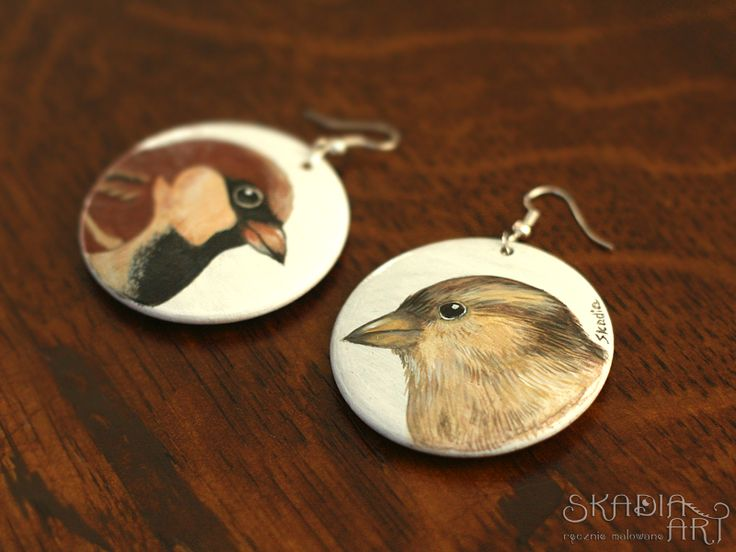 Earrings with sparrows- male and female- made for order. When I' m painting everytime each one earring in pair is different! ...because it' s boring for me to paint the same!