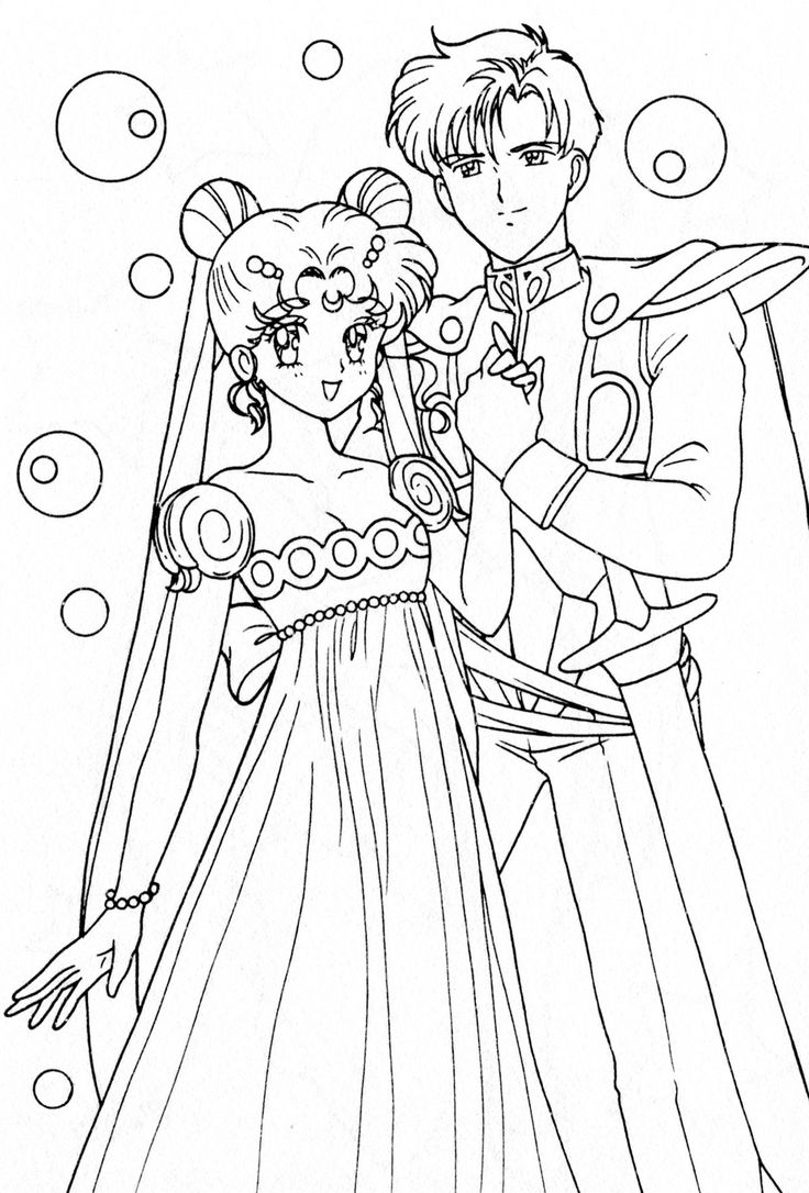 Princess Serenity Coloring Pages : Princess serenity and prince endymion coloring page