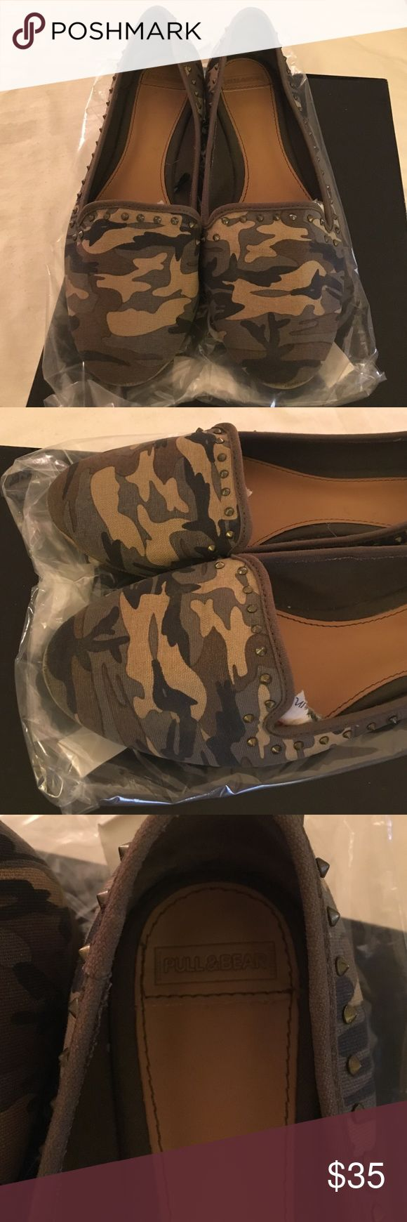 Zara's company PullBear military shoes Worn gently, militar design flats with studs Zara Shoes Flats & Loafers