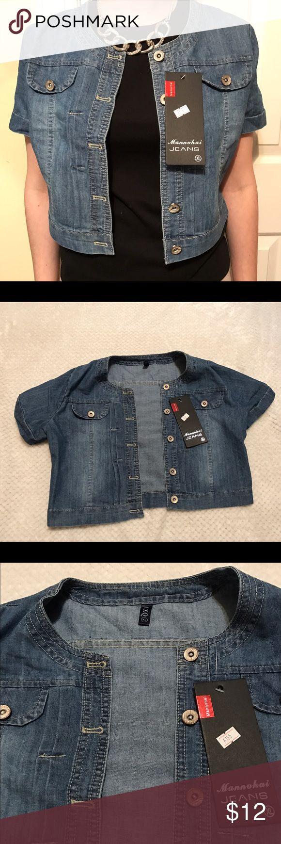 NWT Short sleeve jean jacket New with tags, short sleeve jean jacket, is an extra large but fits small. Mannuhai jeans Jackets & Coats Jean Jackets