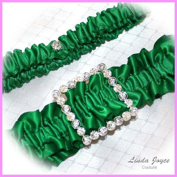 Wedding Garters Set 06 Square Buckle Bride Garter Bridal Unique Crystal Rhinestones 13 Emerald Green