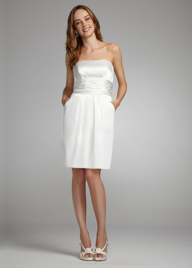 Short Charmeuse Dress with Ruched Waist