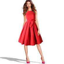 LANLAN Красный Черный Одри Хепберн Стиль 50 s рокабилли Платье 2016 Новый Летний Платье Без Рукавов Лук Sash Женщины Старинные Ретро платья(China (Mainland))