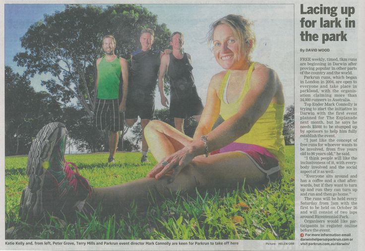 Darwin parkrun set to launch on 26th Oct & previewed in the NT News (Sept 2013)