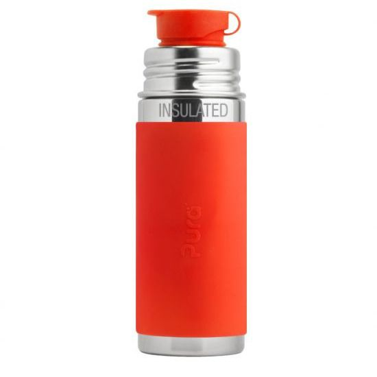 Pura Sport Stainless Steel Water Bottle (Orange Sleeve) 9 oz.
