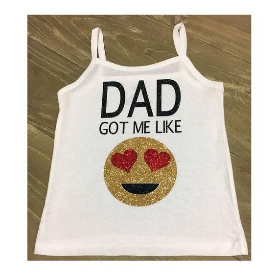 Dad got me like Emoji Hearts - Emoji Outfit, Father's Day Gift, Baby Shower Gift, Daddy's Girl Clothes, Happy Father's Day, Dad's Birthday