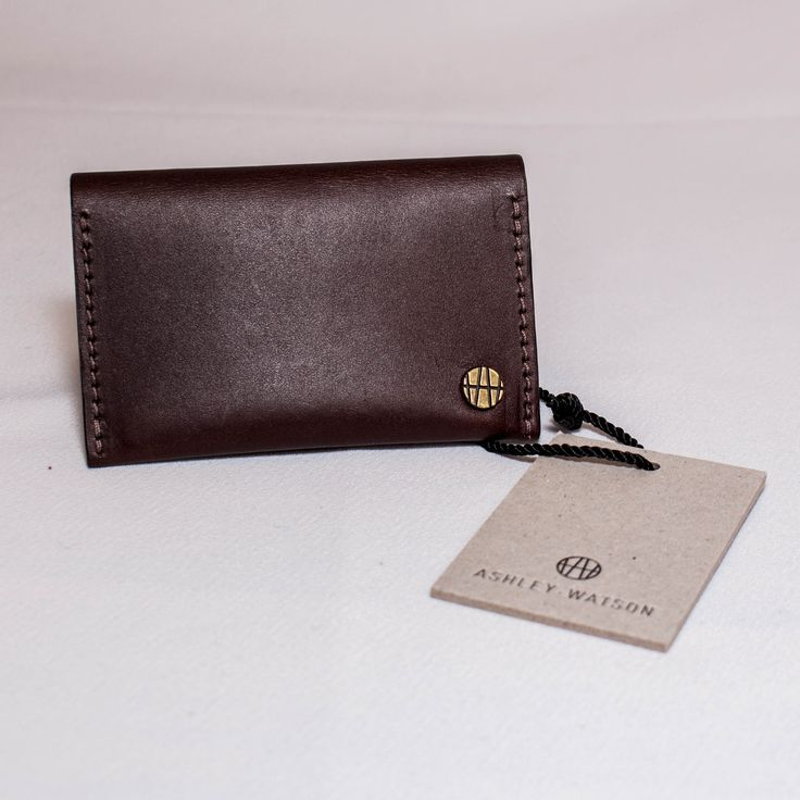 Ashley Watson Card Holder - Brown: Brown leather card holder by London based British designer Ashley Watson.