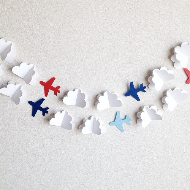 Make paper cloud and airplane garland