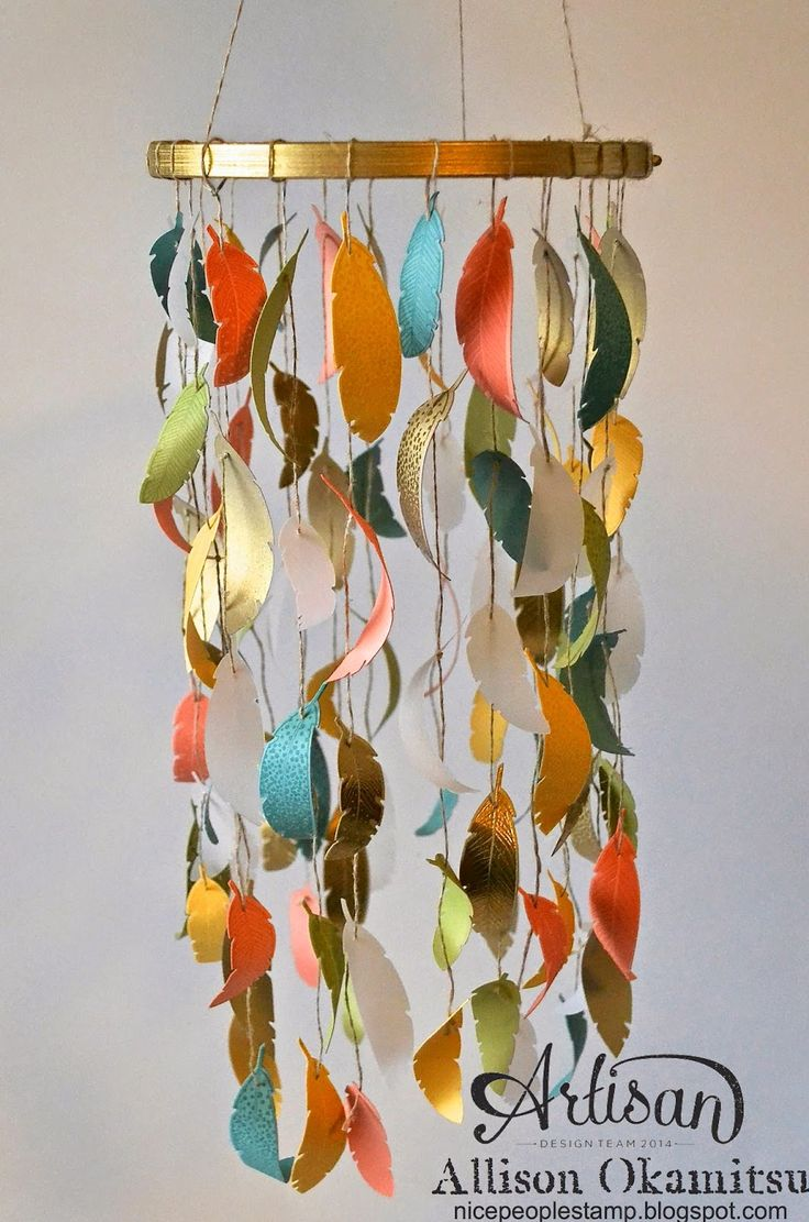 best  paper mobile ideas on pinterest  paint chip mobile  - paper feather mobile  stampin' up artisan blog hop