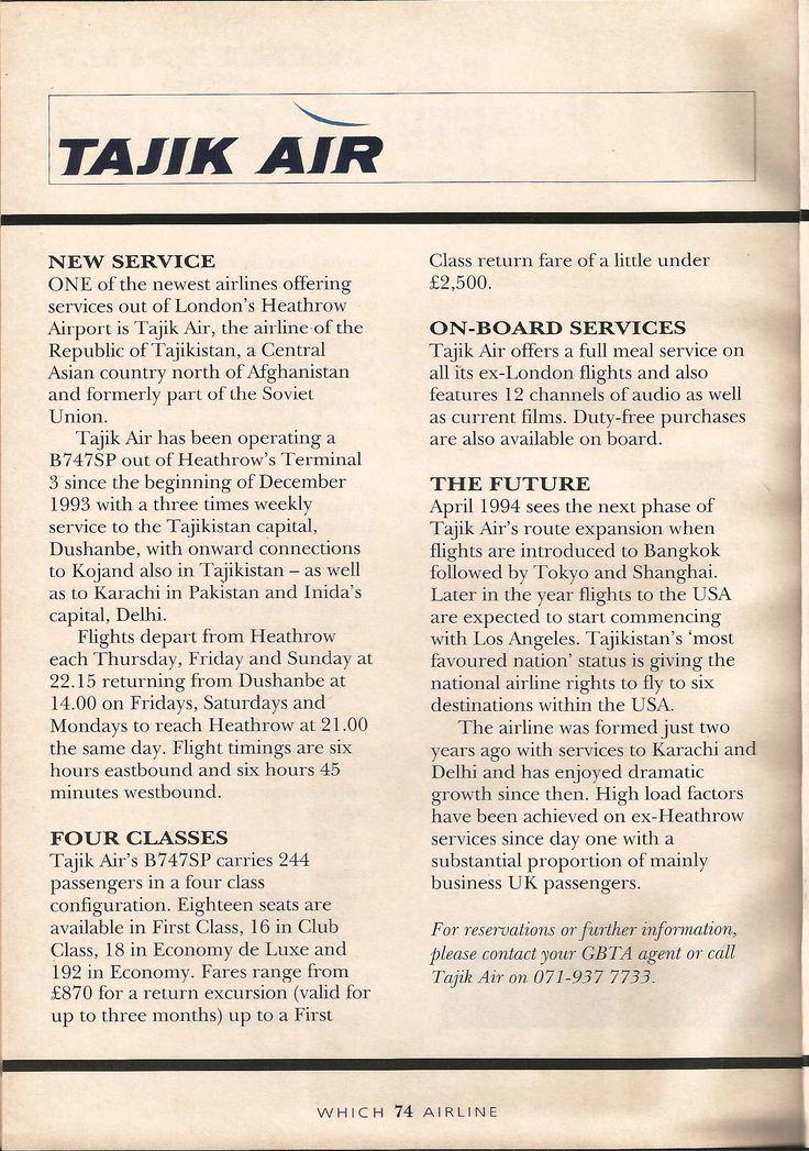 Article about Tajik Air in business traveler magazine.
