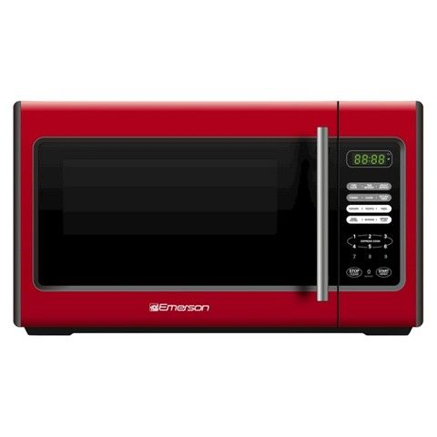 Emerson 900-Watt Stainless Steel Microwave Oven - Red - MW9338RD