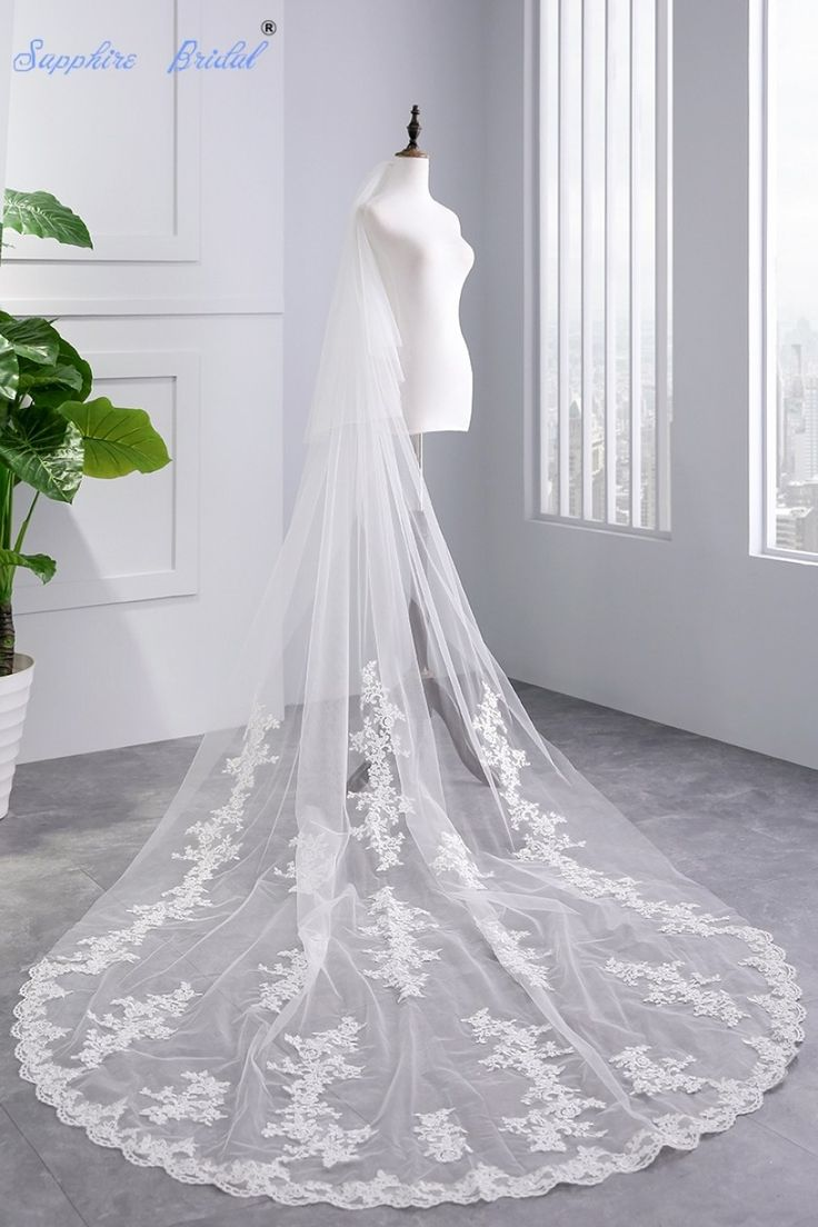sapphire bridal real photos top quality 2 tiers lace appliques intended for ivory wedding dress with white veil