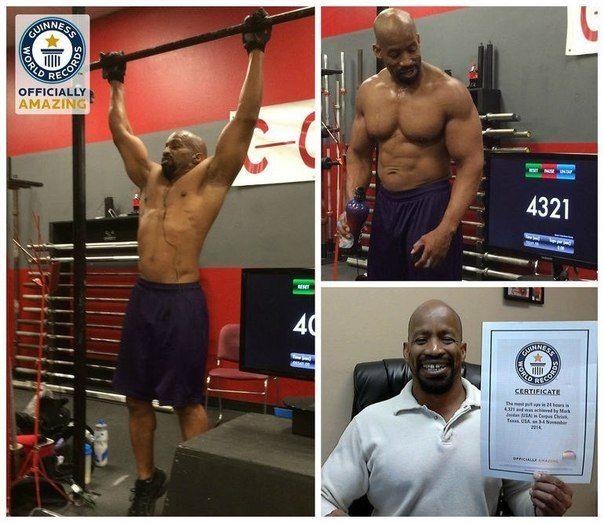 Американец Марк Джордан проживающий в городе Корпус-Кристи (штат Техас), стал обладателем мирового рекорда по числу подтягиваний за 24 часа. Это достижение уже попало на страницы Книги рекордов Гиннеса, так как во время его установки рядом с мужчиной прис