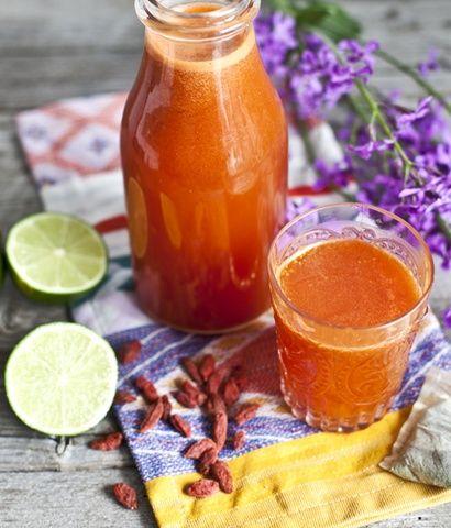 Recette de thé glaçé au thé vert, baies de Goji & lime