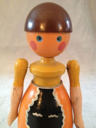 EXTREMELY RARE Vintage PAINTED Wood Wooden KAY BOJESEN Danish LISE Doll DENMARK