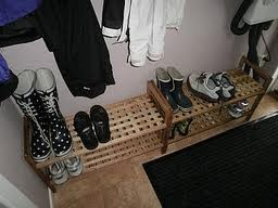 In Finland, when you come inside, you must take off your shoes and leave them in the foyer/hallway. (NB. Finns do not wear their shoes in the house and they always scrape them outside and remove them immediately upon entering a house)