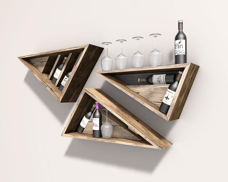 Houten wand decoratie voor wijnfles en wijnglazen #hout #wijnrek